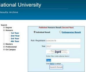 NU Honours 2nd Year Result 2018 [Session 2015-16]