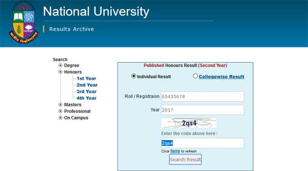 Honours 2nd Year Result by Online